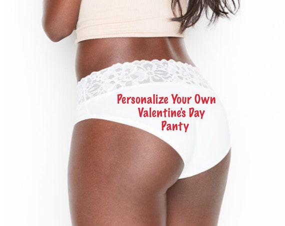 Personalize Your Own Valentine's Day white Victoria Secret Stretch Cotton Lace-waist High-leg Brief Panty *FAST SHIPPING*
