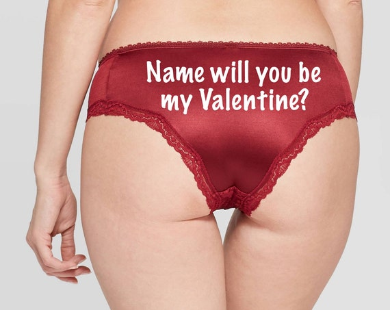 Will you be my Valentine Personalized red Cheeky Panty *FAST SHIPPING*