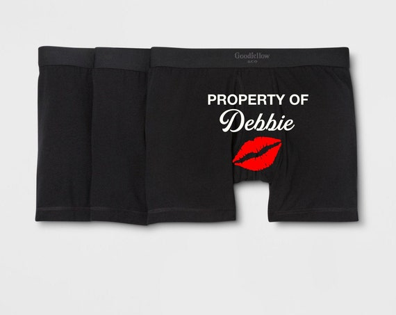 Personalized Property of Men's Black Boxer Briefs - Husband Gift - Gift for Him - Boyfriend Gift - Property of Underwear - Anniversary Gift