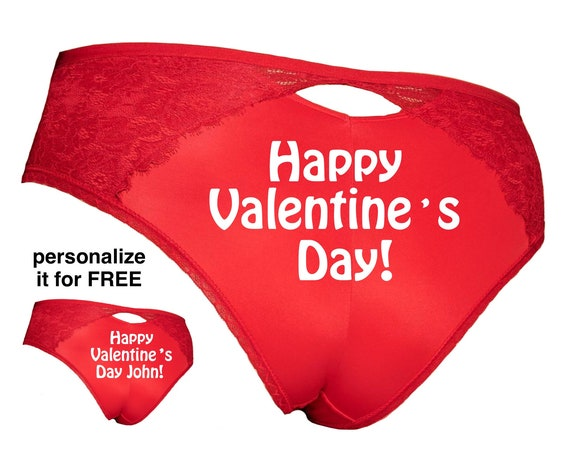 Happy Valentine's Day Plus Size Red Cheeky Panty / Get it personalized for FREE / *FAST SHIPPING*
