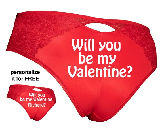 Will you be my Valentine Plus Size Red Cheeky Panty / Get it personalized for FREE / *FAST SHIPPING*