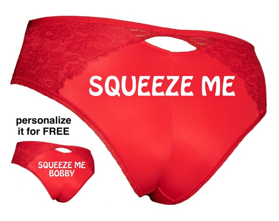 Squeeze Me Plus Size Red Cheeky Panty / Get it personalized for FREE / *FAST SHIPPING*