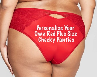 Personalize a Plus Size Red Cheeky with Lace  * FAST SHIPPING * - Plus Size Panties