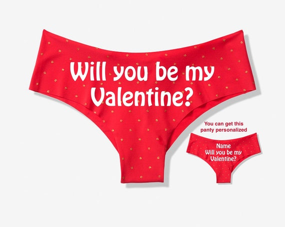 Will you be my Valentine Red Victoria Secret Cheeky Panty / Get it personalized for FREE / *FAST SHIPPING*