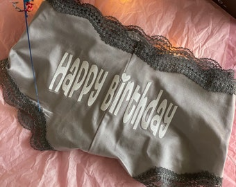 Happy Birthday Gray Cheeky Underwear * Fast Shipping * | Birthday Gift for Him | Birthday Gift for Her | Birthday Underwear | Custom Panties