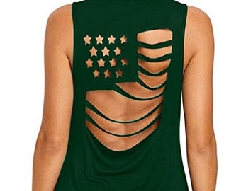 Womens Casual GREEN American Flag Pattern Sleeveless Hollow Out tank top | 4th of July | Patriotic Tank | Military Tank | Plus Sizes Options