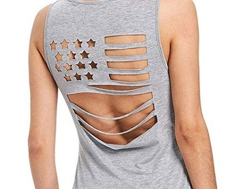 Womens Casual GRAY American Flag Pattern Sleeveless Hollow Out tank top   4th of July   Patriotic Tank   Military Tank   Plus Sizes Options