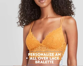 Personalized Bralette | Women's all over lace Gold Seamless Padded Bralette  * FAST SHIPPING * Women's Bras, Womens Clothing