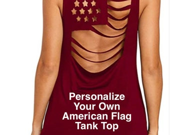 Personalize Your Own RED American Flag Pattern Sleeveless Hollow Out tank top | 4th of July | Patriotic Tank | Plus Sizes Available