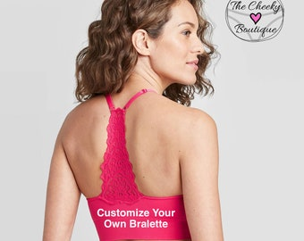 Personalize a Women's Longline Racerback Seamless Padded Bralette to match your personalized panties * FAST SHIPPING * Women's Lingerie