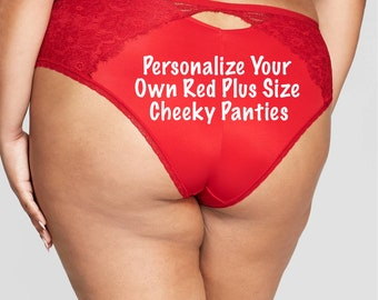 Personalized Plus Panties | Custom Plus Size red Underwear with your own words *Fast Shipping* Sizes X, XL, 2XL, 3XL and 4XL