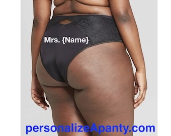 Personalized Plus Size Panties | Mrs. | Women's Plus Size Black Cheeky with Lace  * FAST SHIPPING * - Sizes X, 1X, 2X, 3X and 4X