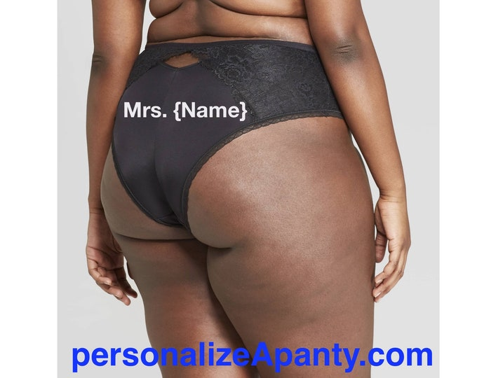 Featured listing image: Personalized Plus Size Panties | Mrs. | Women's Plus Size Black Cheeky with Lace  * FAST SHIPPING * - Sizes X, 1X, 2X, 3X and 4X