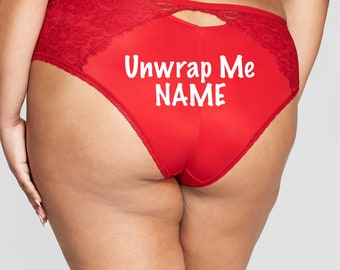 Unwrap Me Personalized red Plus Size cheeky panty *Fast Shipping*  Holiday Gift, Funny Christmas Gift, Stocking Stuffer