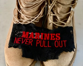Marines Never Pull Out black Victoria Secret all over lace thong panty * FAST SHIPPING * Military Wife, Girlfriend, Welcome Home Gift