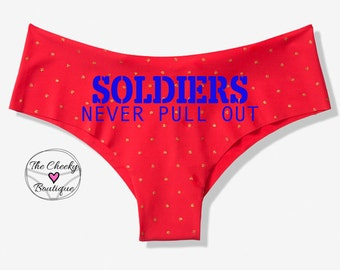 Soldiers Never Pull Out Red Victoria Secret Cheeky Panty * FAST SHIPPING * Custom Military Underwear, Military Panties