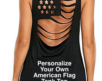 Personalize Your Own BLACK American Flag Pattern Sleeveless Hollow Out tank top | 4th of July | Patriotic Tank | Plus Sizes Available