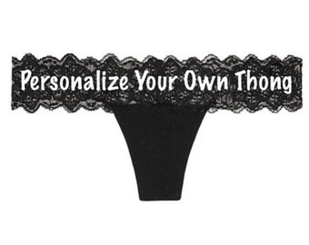 Personalize Your Own Victoria Secret Black Lace Waist Thong * FAST SHIPPING *