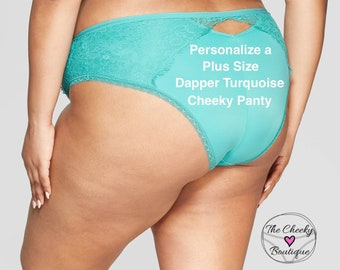 Personalized Plus Size Panty | Dapper Turquoise Cheeky with Lace  * FAST SHIPPING * - Sizes Available 1X