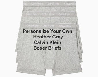 Calvin Klein Men's Heather Gray Personalize Your Own Boxer Brief | Anniversary Gift for Boyfriend or Husband | Cotton Anniversary Gift