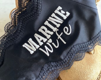 Marine Wife Black Personalized Panties - *FAST SHIPPING* | Military Wife | Military Spouse | Military Wedding | Military Bridal Shower