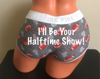I'll Be Your Halftime Show Victoria Secret Football Logo Boyshorts * FAST SHIPPING * Football Panties, Gift for Him, Custom Underwear