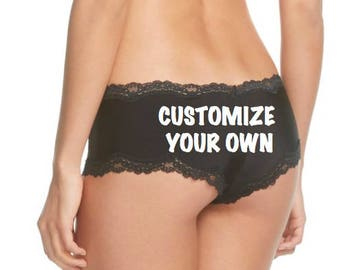 Customize a Black Cheeky Panty with your own words, FAST SHIPPING Personalized for a You or a Bride to Be