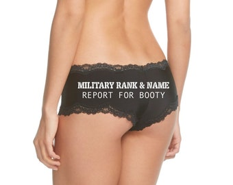 Personalize a Military Rank and Name Report For Booty Cheeky Black Panty * FAST SHIPPING * NEW Plus Size Options