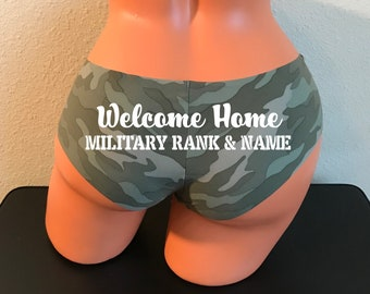 Personalize a Welcome Home Military Rank and Name Camouflage Victoria Secret No Show Cheeky Panty *FAST SHIPPING* Military Wife, Girlfriend
