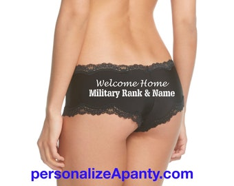 Personalize a Welcome Home Military Rank and Name Black Cheeky panty - Army, Navy, Marines, Coast Guard, Air Force, Wife or Girlfriend