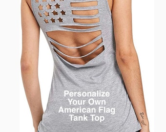 Personalize Your Own GRAY American Flag Pattern Sleeveless Hollow Out tank top | 4th of July | Patriotic Tank | Plus Sizes Available