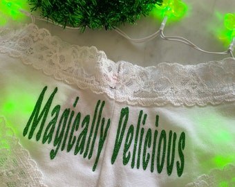 Magically Delicious white Victoria Secret Cheeky Panties * FAST SHIPPING * St. Patricks Day Underwear