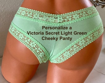 Personalized Panties, Customize with your own words a Victoria Secret light green Cheeky Panties | FAST SHIPPING | Size Small