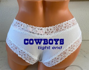 Cowboys Tight End white Victoria Secret Cheeky Panty * FAST SHIPPING * Football Panties, Good Luck Panties, Gift for Him, Cowboys Football