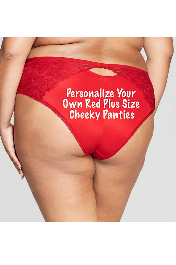 Personalize Your Own red Plus Size cheeky panty *Fast Shipping*  Holiday Gift, Funny Christmas Gift, Stocking Stuffer