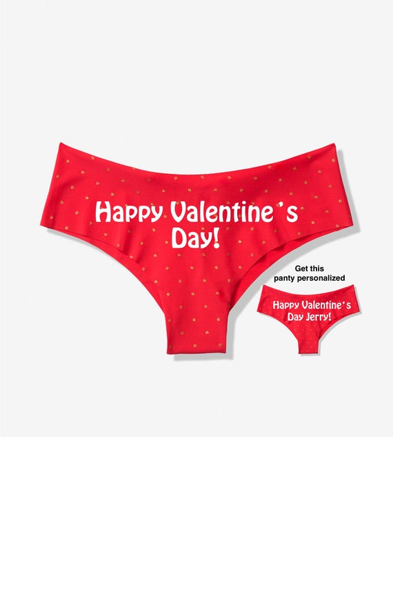 Happy Valentine's Day red Victoria's Secret cheeky panty / Get it personalized for FREE / *FAST SHIPPING*