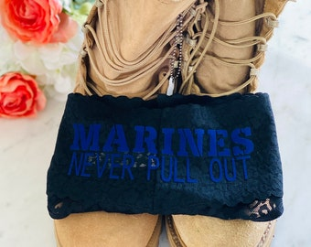 Marines Never Pull Out black Plus Size all over lace thong panty * FAST SHIPPING * Military Wife, Girlfriend, Welcome Home Gift