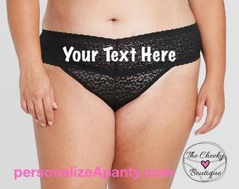 Personalize a Plus Size Black Lace Thong  * FAST SHIPPING * - Sizes X, XL, 2XL, 3XL and 4XL | Plus Size Womens Panties | Stocking Stuffer