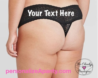 Personalize a Plus Size Black Lace Thong  * FAST SHIPPING * - Sizes X, XL, 2XL, 3XL and 4XL   Plus Size Womens Panties   Stocking Stuffer