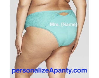 Plus Size Personalized  Panties | Mrs. | Women's Plus Size Dapper Turquoise Cheeky with Lace  * FAST SHIPPING * Size 1X