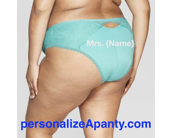 Personalize a Mrs. {Name} Women's Plus Size Micro Turquoise Cheeky with Lace  * FAST SHIPPING *