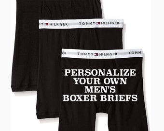 Tommy Hilfiger Black Personalized Men's Boxer Brief | Anniversary Gift for Boyfriend or Husband | Cotton Anniversary Gift