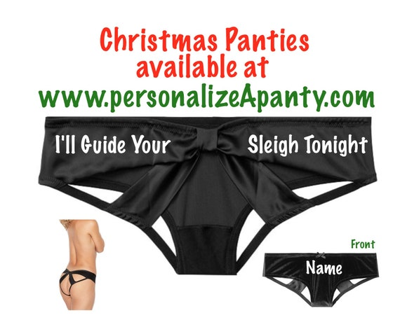 Personalize I'll Guide Your Sleight Tonight black Victoria Secret Very Sexy Strappy Mesh Bow Cheeky Panty * FAST SHIPPING * Xmas Lingerie