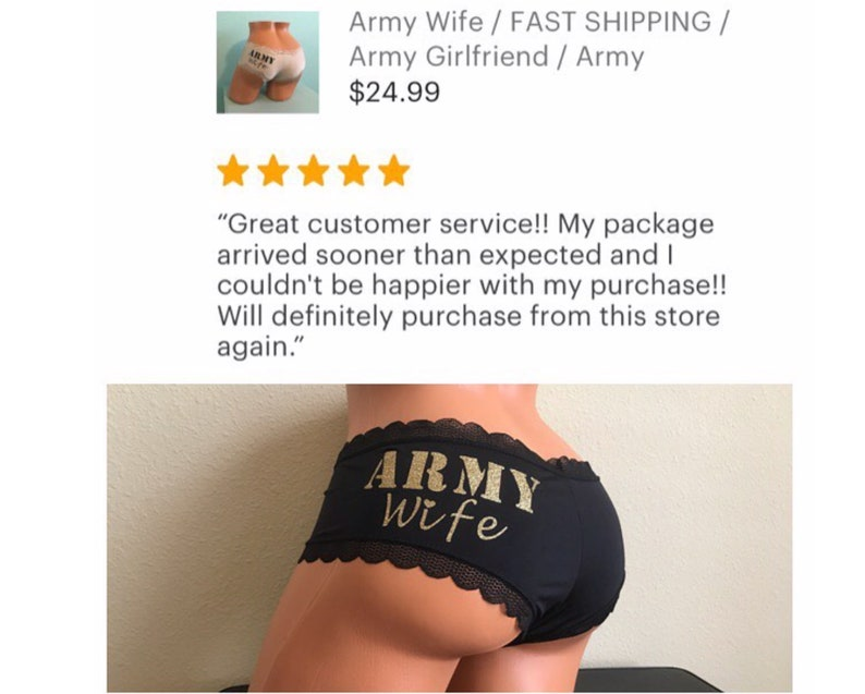 FAST SHIPPING Gift For A Soldier Army Girlfriend Army Husband Gift Army Wife Gift Army Wife Panties Army Gift