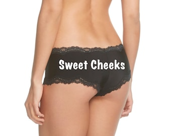 Sweet Cheeks Black Cheeky Personalized Panty *FAST SHIPPING*