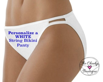 Personalize a White Women's Vanity Fair String Bikini Panty * FAST SHIPPING * Bride to Be Panty, Wedding Lingerie, Plus Size Options XS-4X