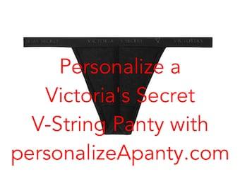 Personalize a Victoria Secret cotton black V-string Panty * FAST SHIPPING *  Bridal Shower Gift, Brides lingerie, bachelorette gift