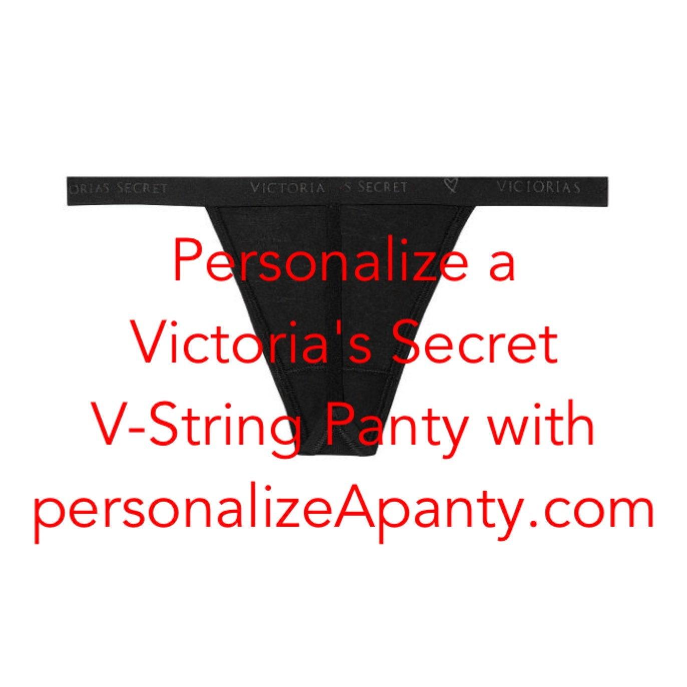 847821ef8652 Personalize a Victoria's Secret STRETCH COTTON black V-string Panty