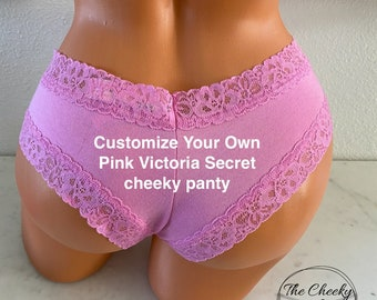 Personalized Victoria Secret Pink Cheeky Panties, Bachelorette Gift, Bridal Shower Gift, Birthday Gift, Custom Panties * FAST SHIPPING *