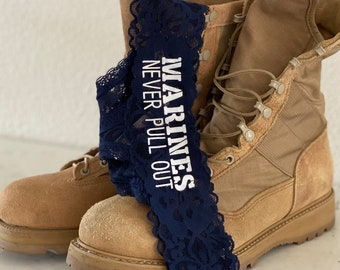 Marines Never Pull Out BLUE Victoria Secret all over lace thong panty * FAST SHIPPING * Military Wife, Girlfriend, Welcome Home Gift